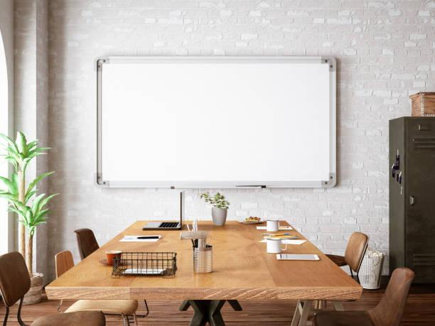büro mit weißes brett - kreide farbe schreibtisch stock-fotos und bilder