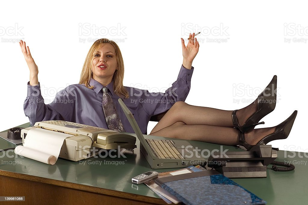 Office woman relaxing royalty-free stock photo
