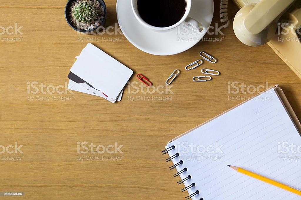 Office work wood desk. royalty-free stock photo