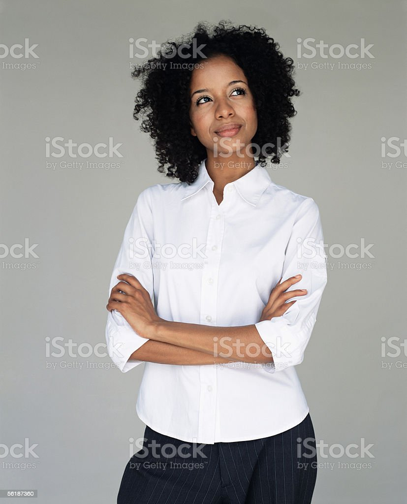 Office worker daydreaming stock photo