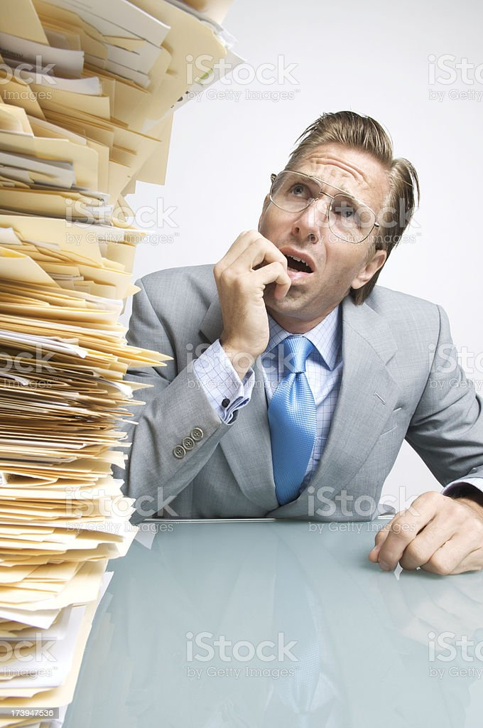 Office Worker Fears His Inbox royalty-free stock photo