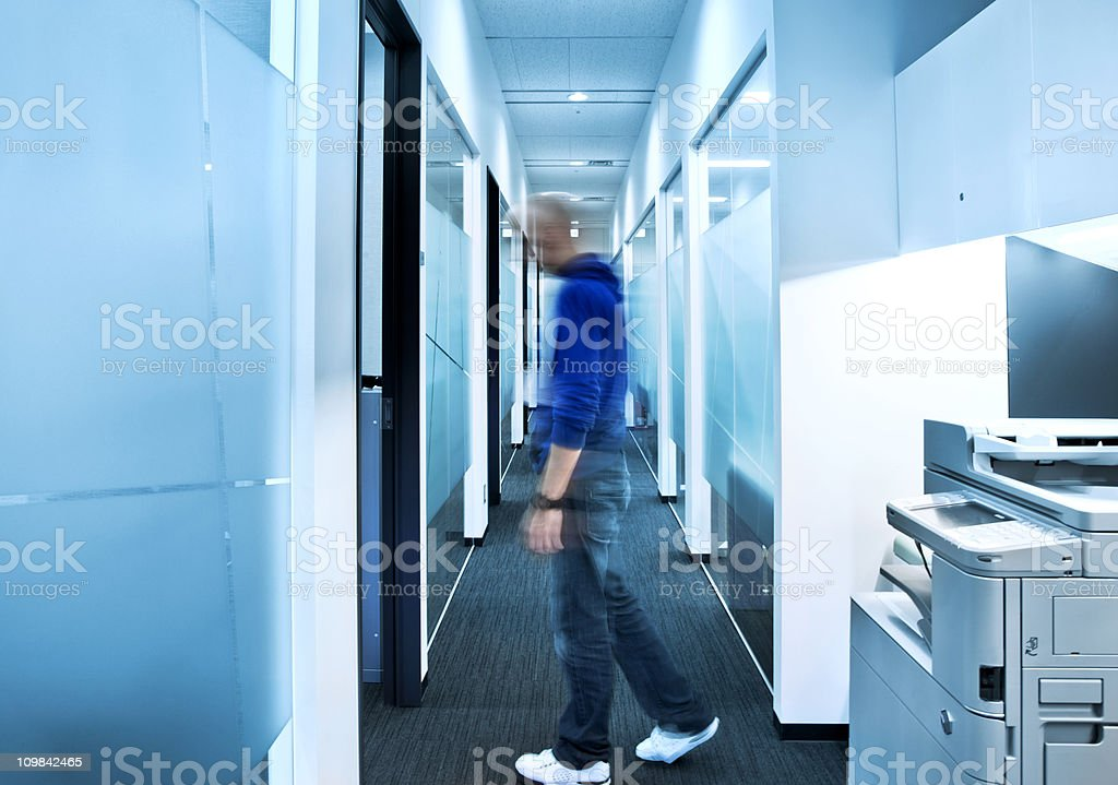 office worker in motion stock photo