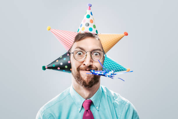 office worker party man - happy birthday stock pictures, royalty-free photos & images