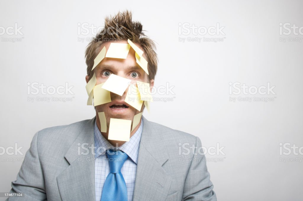 Office Worker w Stickies on Face royalty-free stock photo