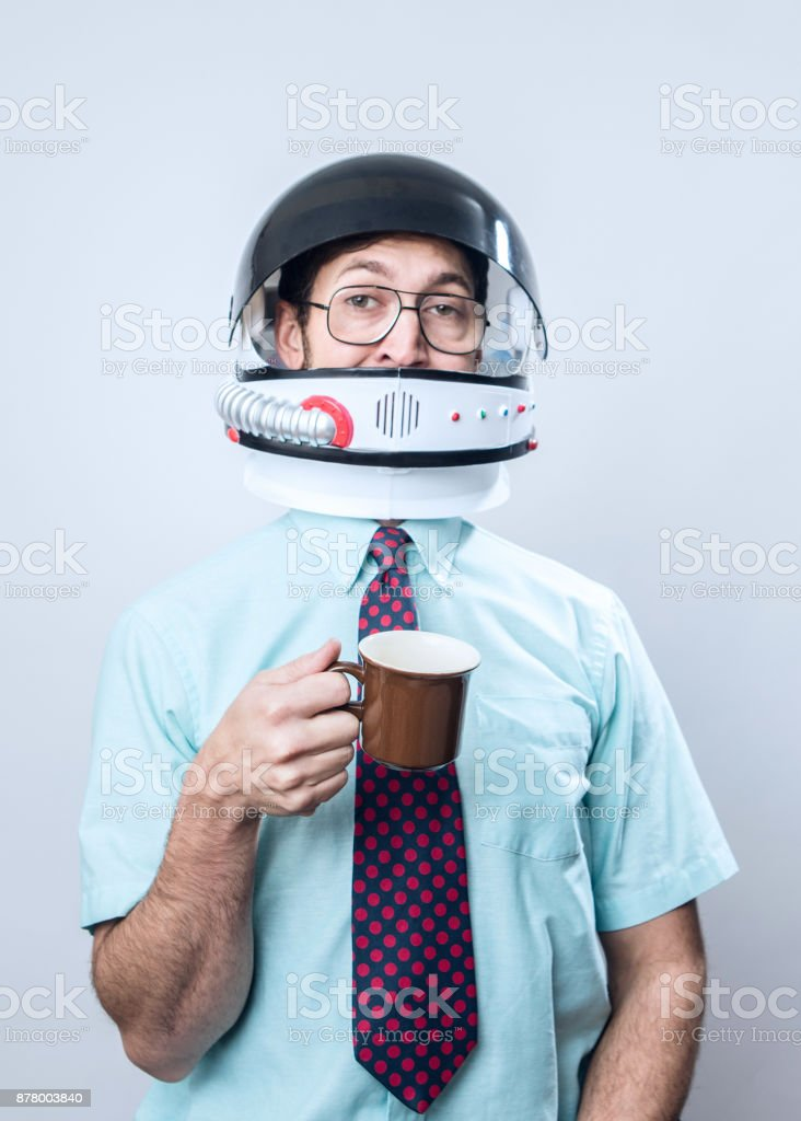 Office Worker Wearing Astronaut Space Helmet - foto stock