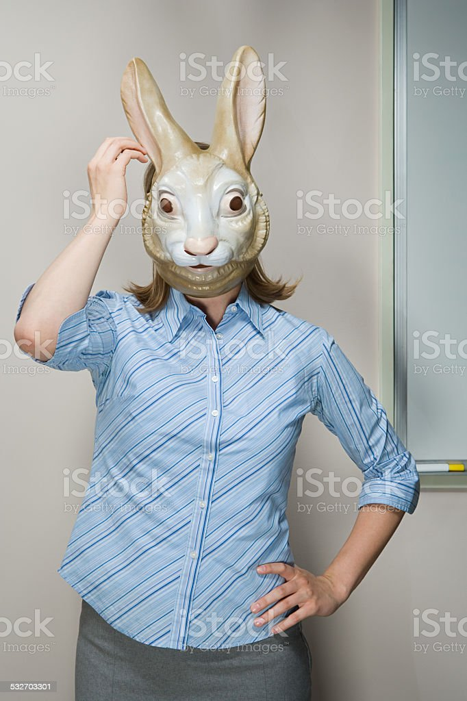 Office worker wearing mask stock photo