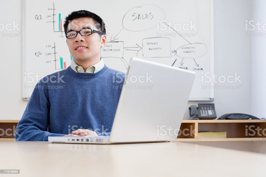 Office worker with laptop royalty-free stock photo