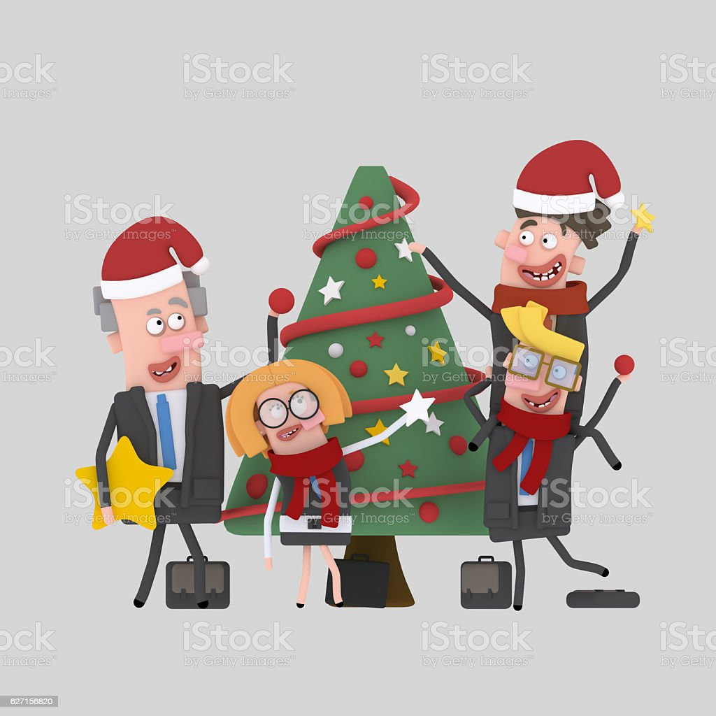 Office workers decorating Xmas Tree - foto de stock