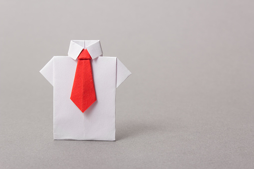 Office Workers In A Shirt And Tie Made Of Paper Origami Copy