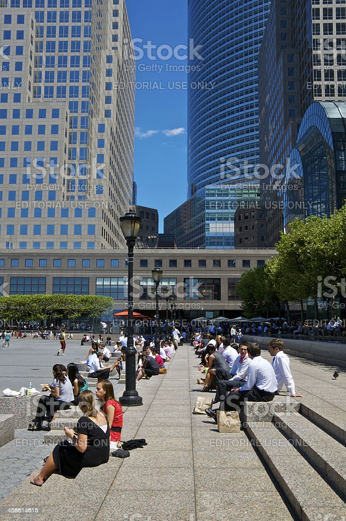 Office workers outdoors on lunch break, World Financial Center Plaza stock photo