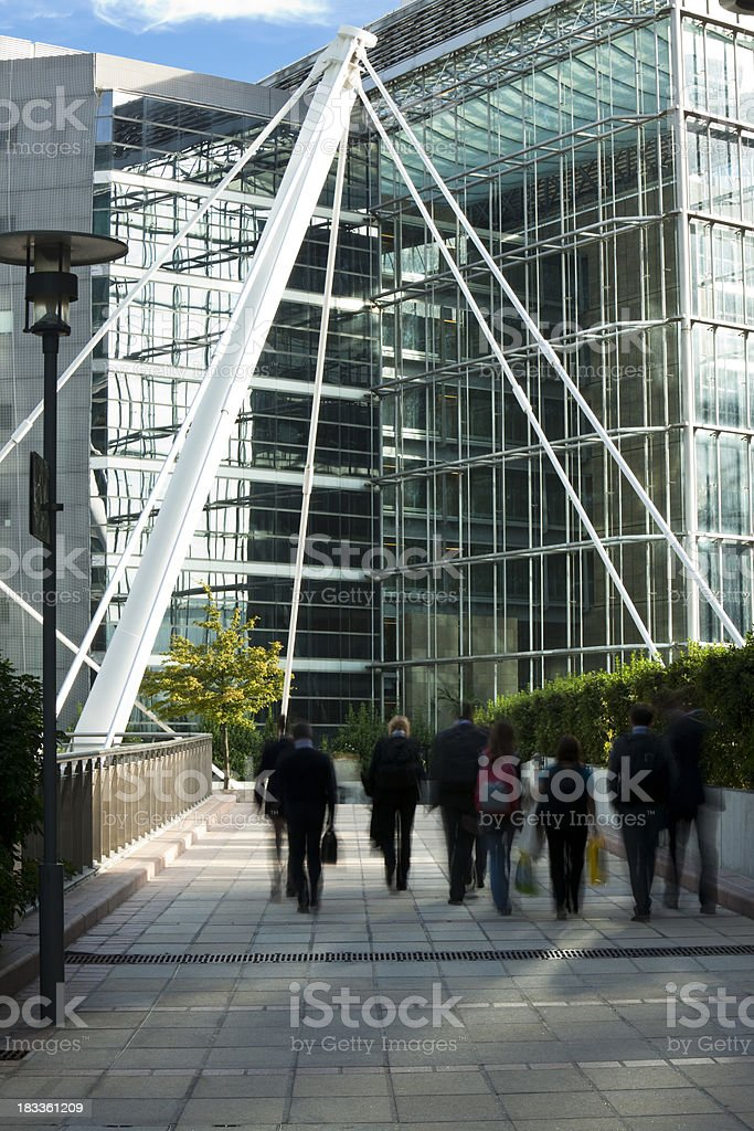 Office Workers Walking to Work, Blurred Motion royalty-free stock photo