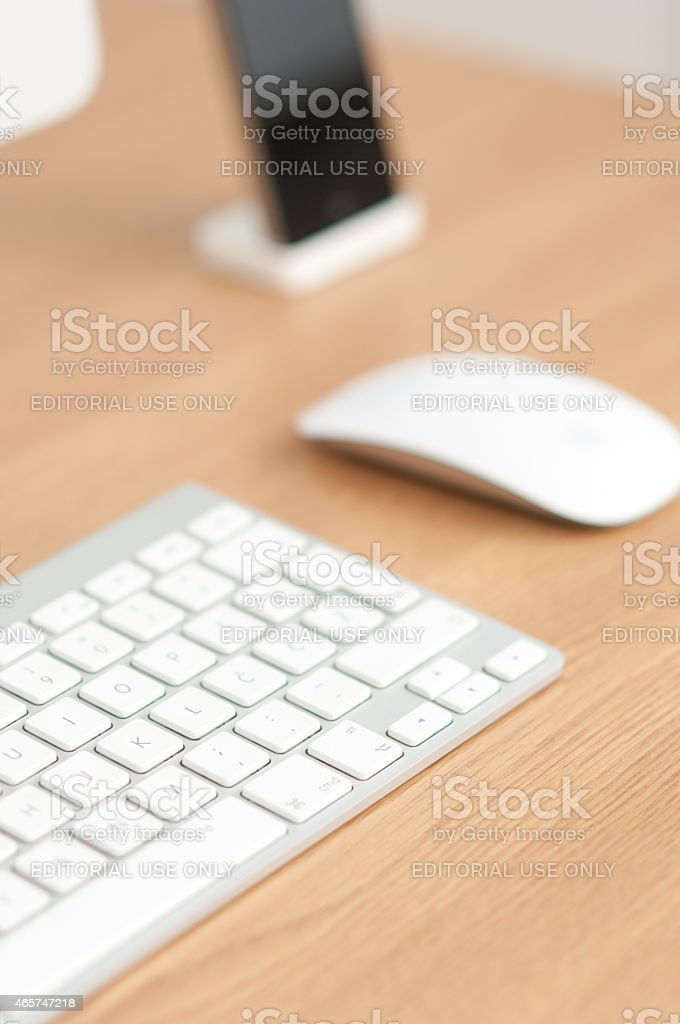 Office workplace with Apple iMac computer stock photo