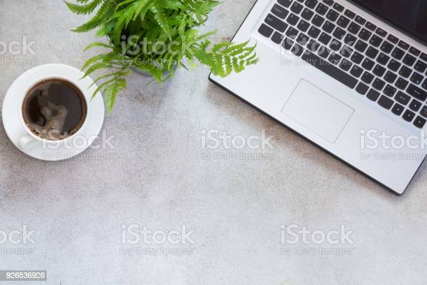 Photo of Office workplace with laptop, cup of coffee and plant. Top view with copy space.