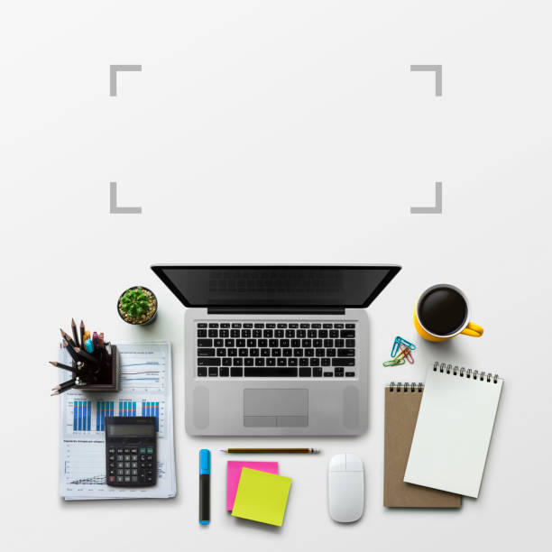 office workplace with laptop, notebook, office supplies and stationery on white background. solution, business planning, data analysis, creative, design, start, or working flat lay top view concept. - post it notes zdjęcia i obrazy z banku zdjęć