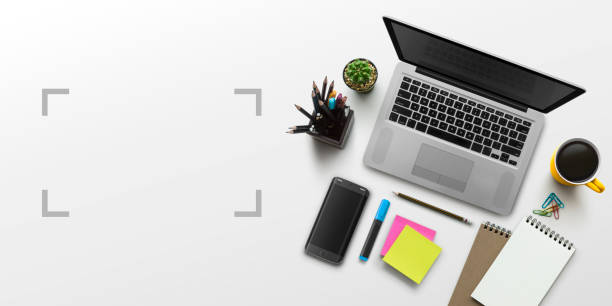 office workplace with laptop, notebook, office supplies and stationery on white background. solution, business planning, creative, design, learning, start up or working flat lay top view concept. - post it notes zdjęcia i obrazy z banku zdjęć