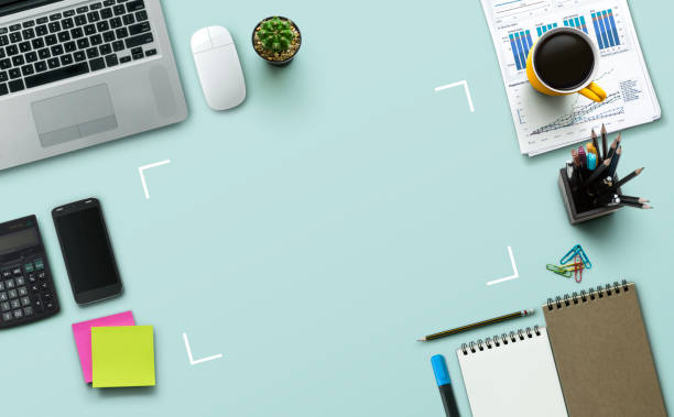 office workplace with laptop, notebook, office supplies and stationery on turquoise background. solution, business planning, data analysis, creative, design, start, or working flat lay top view concept. - post it notes zdjęcia i obrazy z banku zdjęć