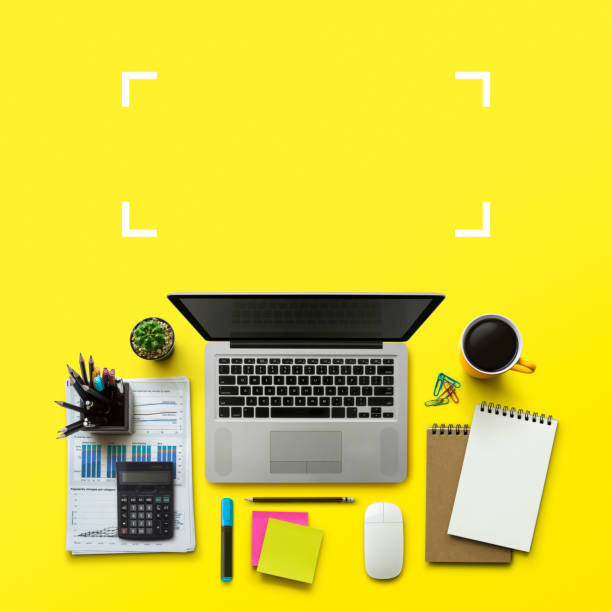 office workplace with laptop, notebook, office supplies and stationery on yellow background. solution, business planning, data analysis, creative, design, start, or working flat lay top view concept. - post it notes zdjęcia i obrazy z banku zdjęć