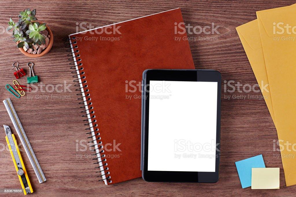 Workplace, Desk, Table, Paper Cutter, Ruler, Pen, Pencil, a Blank...