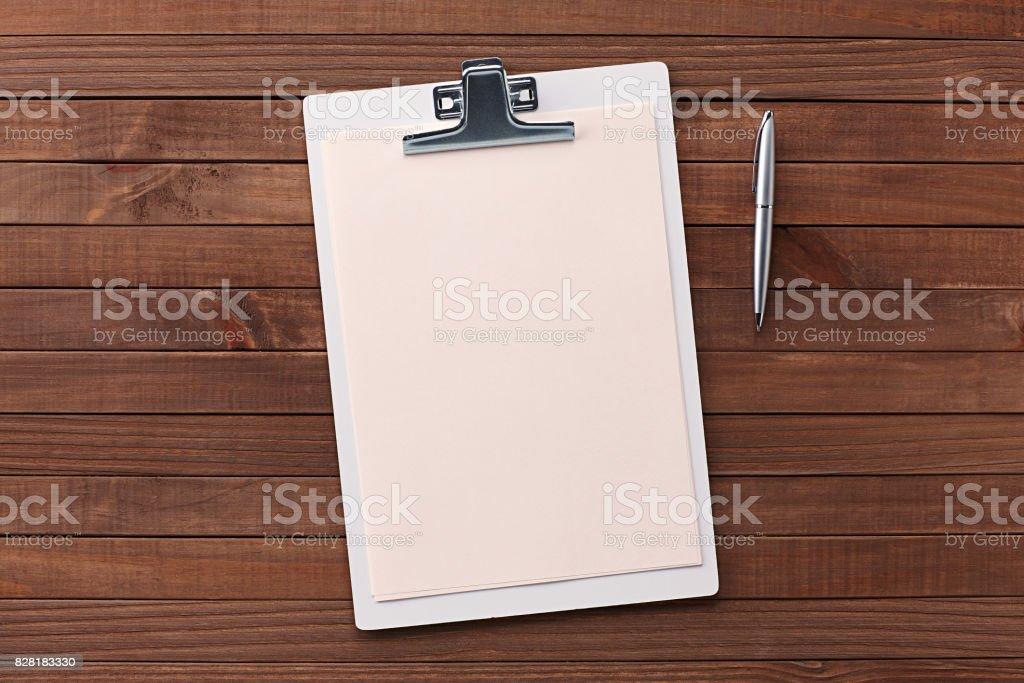 Wooden Desk Table, Paper Cutter, Ruler, Pen, Pencil, a Blank...