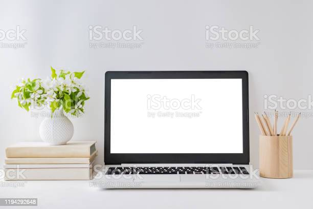 Office workspace with laptop mockup books spring flowers in a vase picture id1194292648?b=1&k=6&m=1194292648&s=612x612&h=1dbcl6tqc s744cnylalhg nlcun4h4en3fp7j z0 u=
