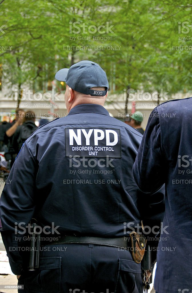 NYPD 'DISORDER CONTROL UNIT' Officer at Zuccotti Park, NYC royalty-free stock photo