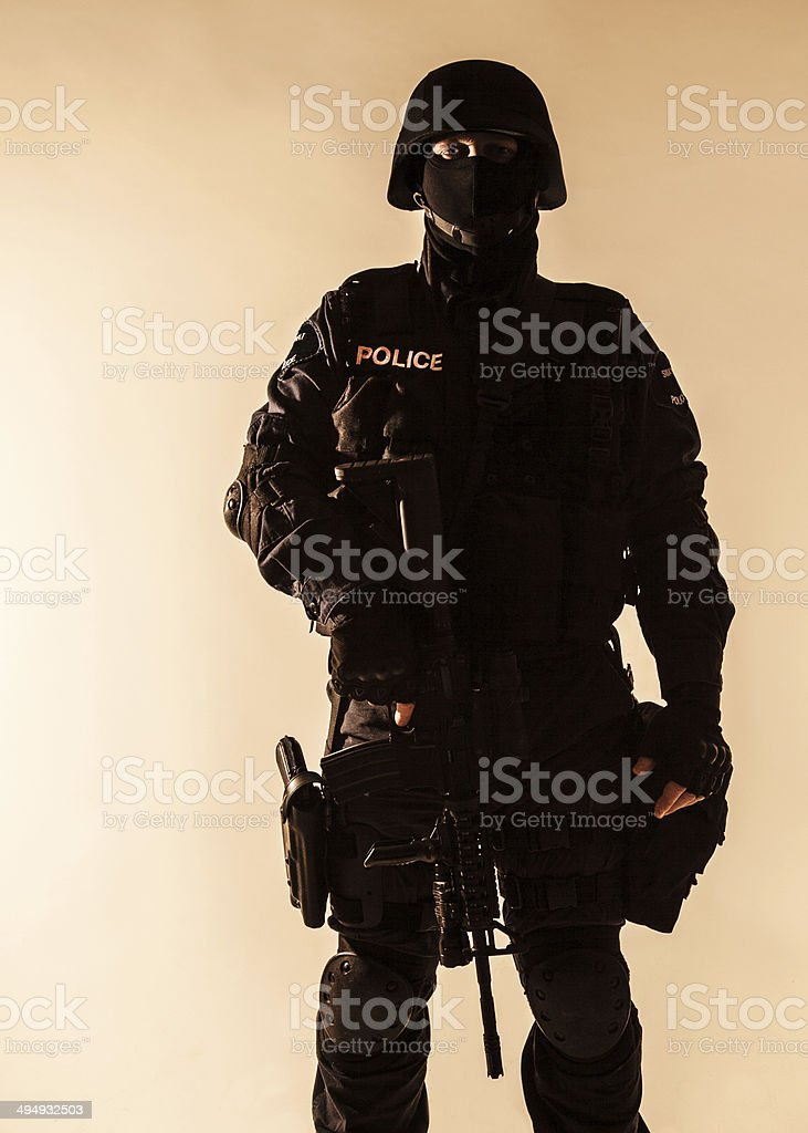 SWAT officer backlit stock photo