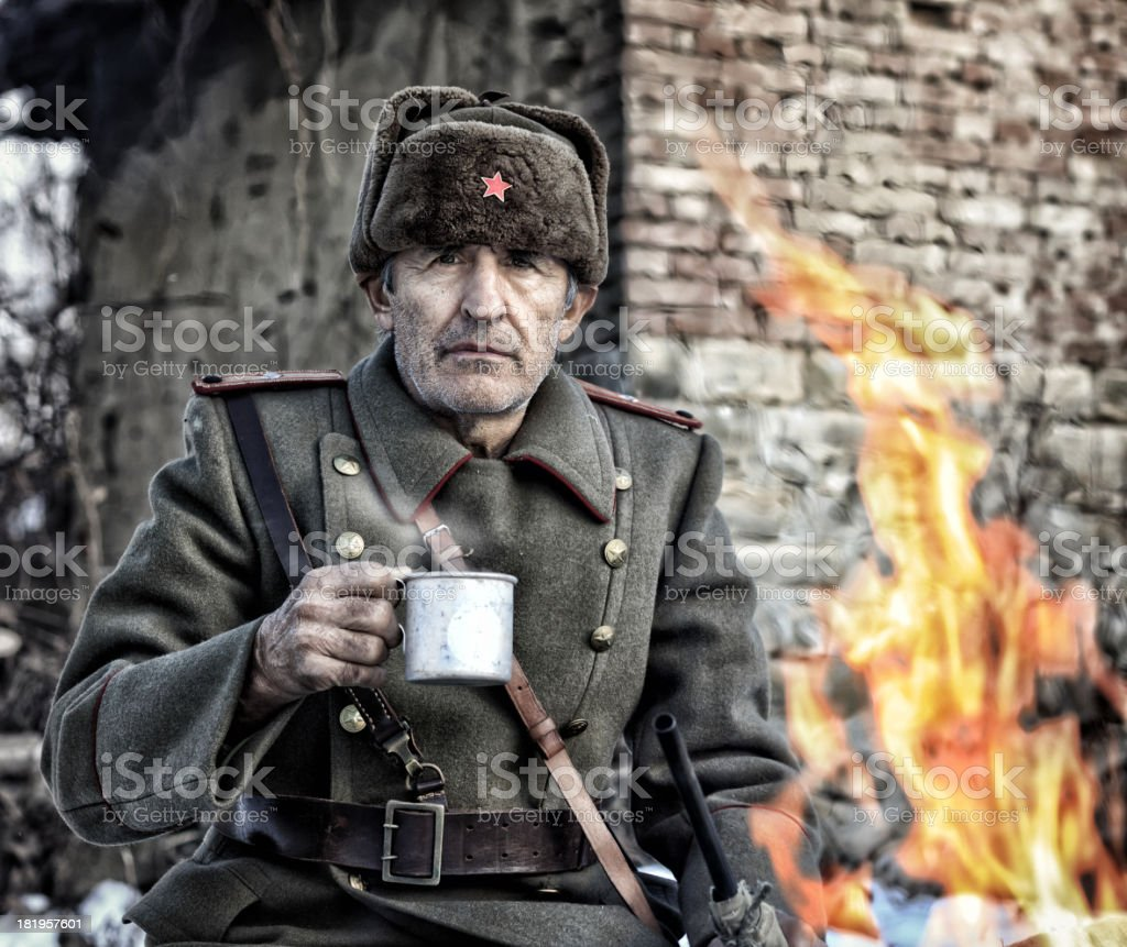 WWII  Officer - Eastern Front stock photo
