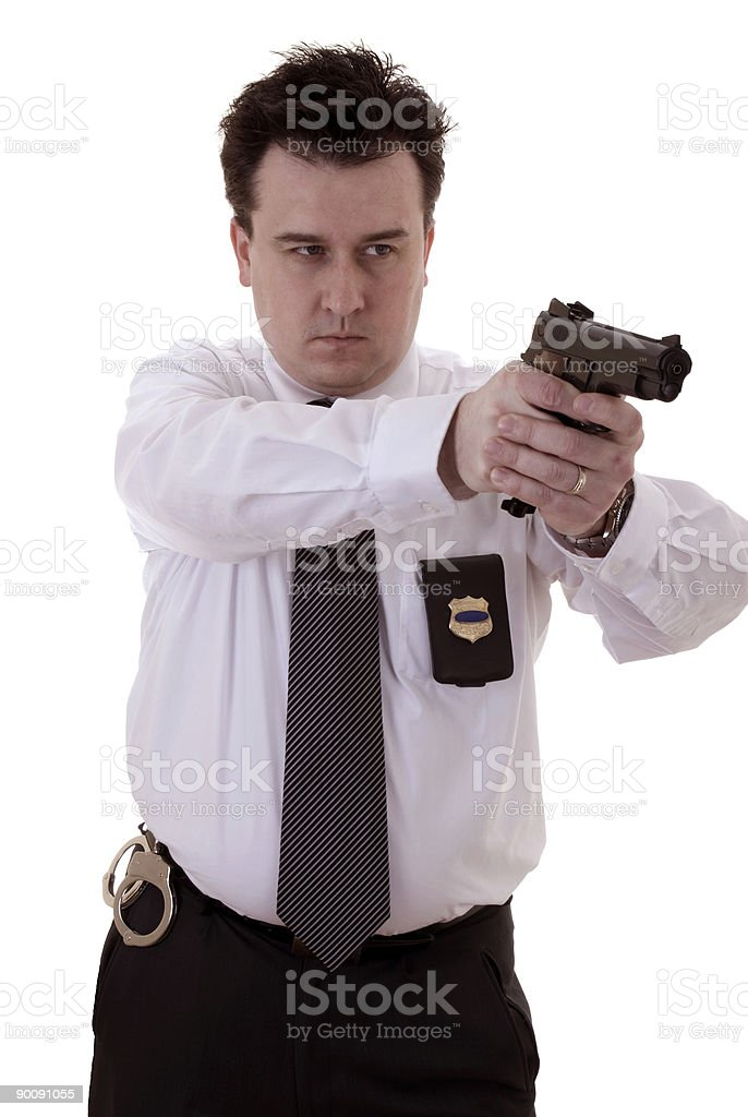 Officer in action : ready for shooting royalty-free stock photo