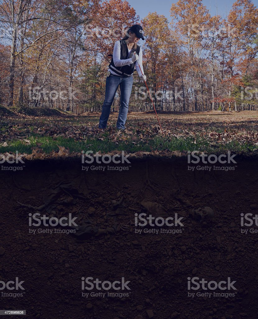 CSI officer probing for remains crime scene stock photo