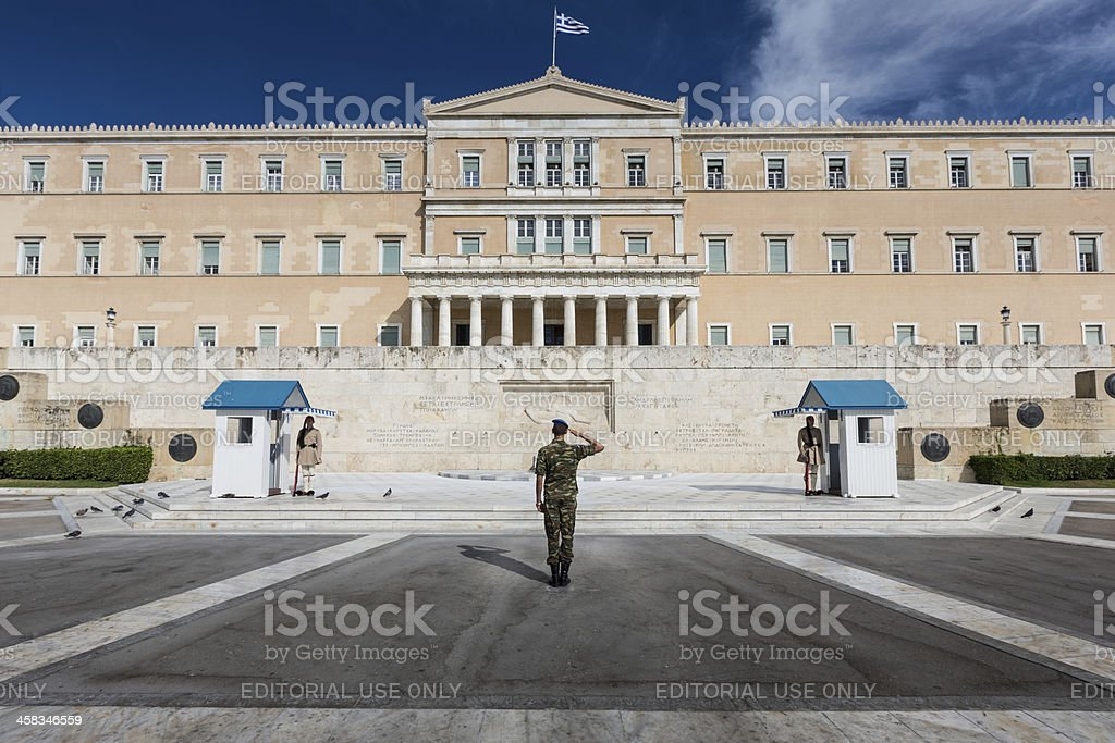 Officer Saluting Syntagma Square Athens royalty-free stock photo