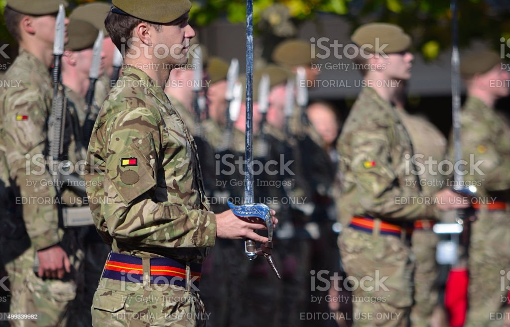 Officers and Troops of the Royal Anglian Regiment stock photo