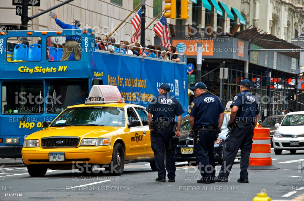 NYPD Officers at Counter Terror vehicle checkpoint, Lower Manhattan, NYC royalty-free stock photo
