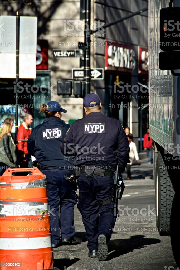 NYPD Officers at vehicle safety checkpoint, Lower Manhattan, NYC stock photo