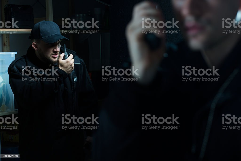 Officers calling for back up stock photo