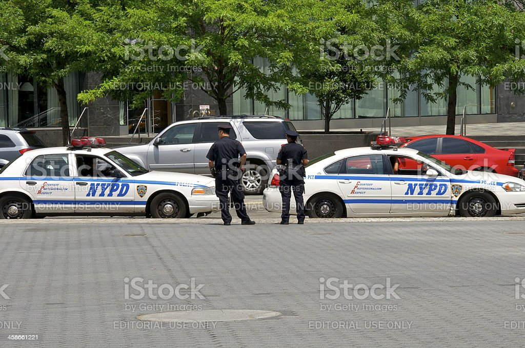 NYPD Officers near Battery Park, Lower Manhattan, NYC stock photo