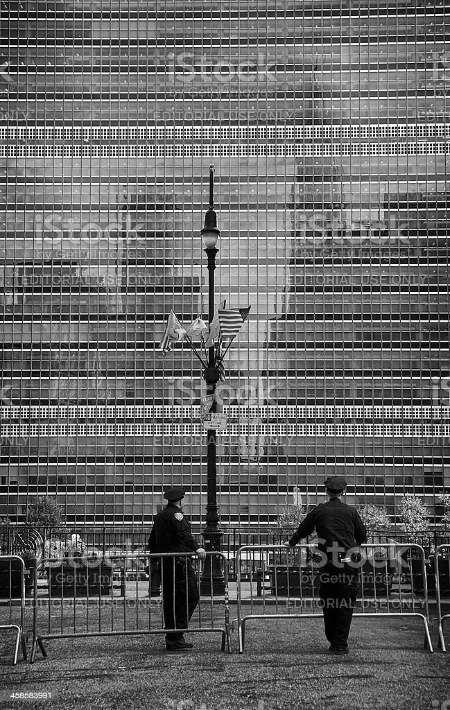 NYPD Officers near United Nations Building, Manhattan, NYC stock photo
