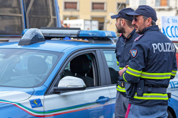 Officers of the Polizia Stradale in Florence stock photo