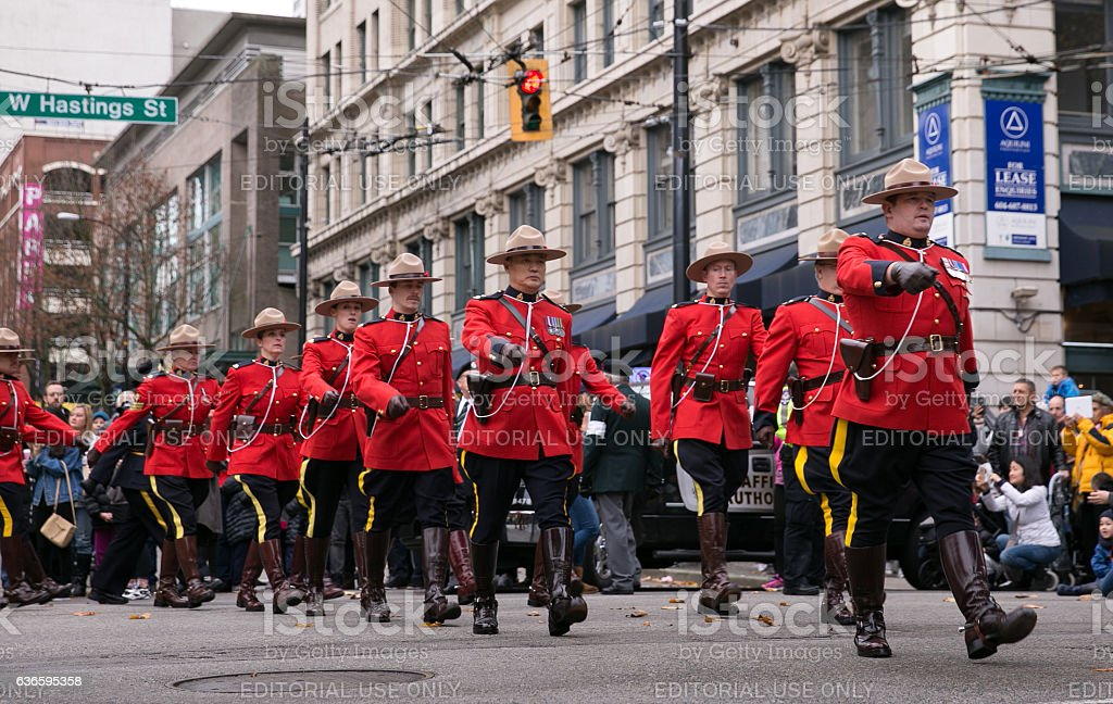 RCMP officers on parade stock photo