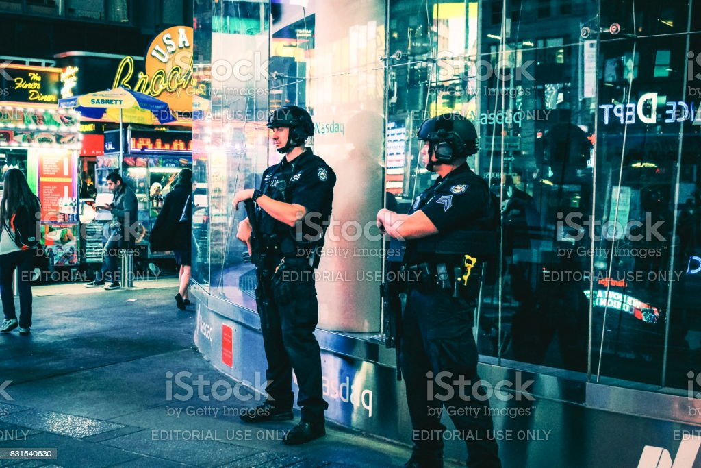 NYPD officers on the beat in Times Square, Manhattan stock photo