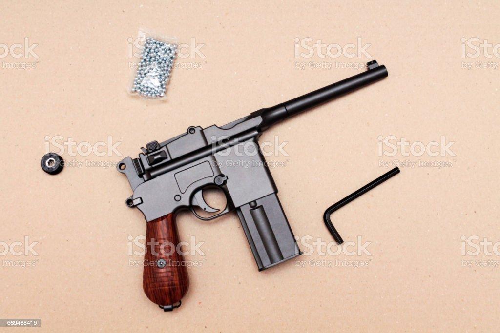 Officer's pistol. A pistol with a clip. Vintage pistol. stock photo
