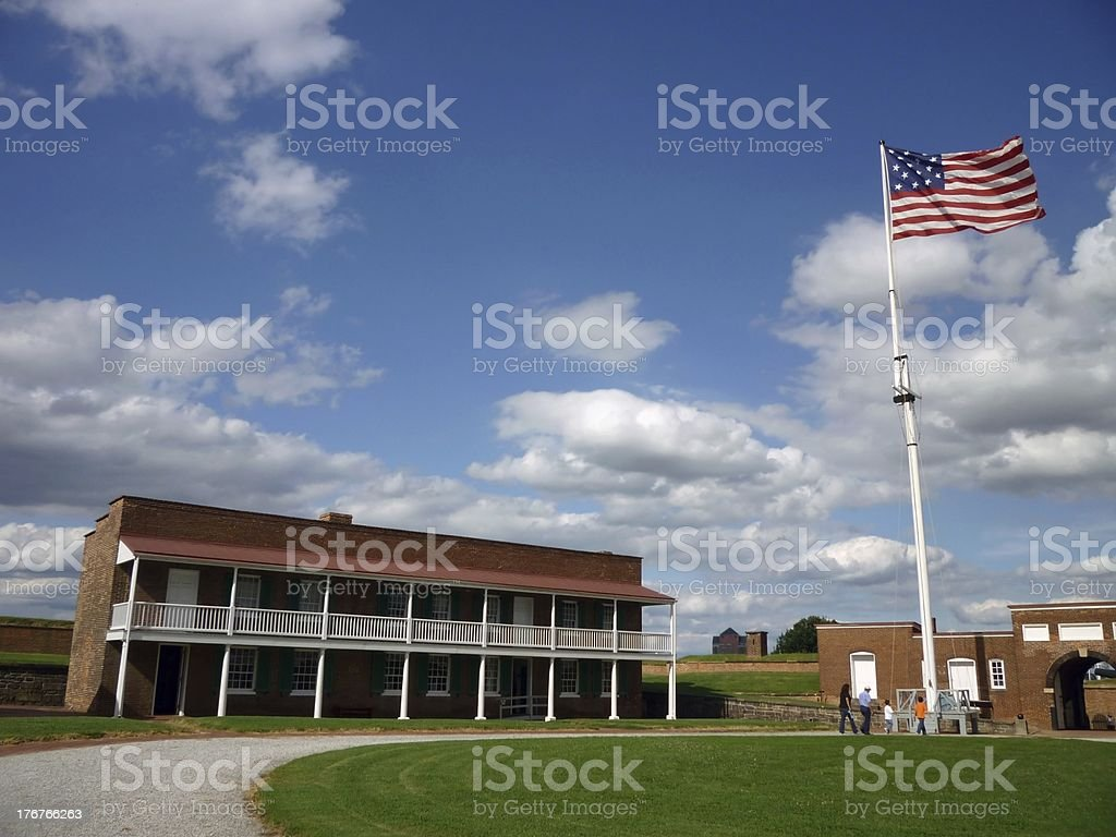 Officer's Quarters and Courtyard stock photo