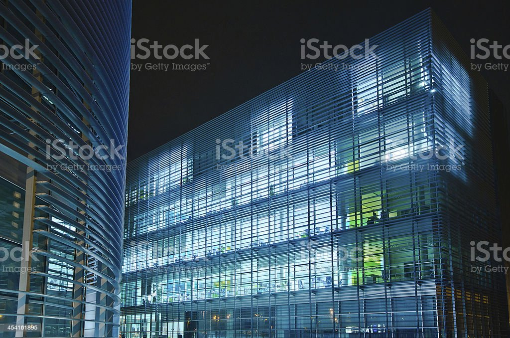 Offices at night. stock photo