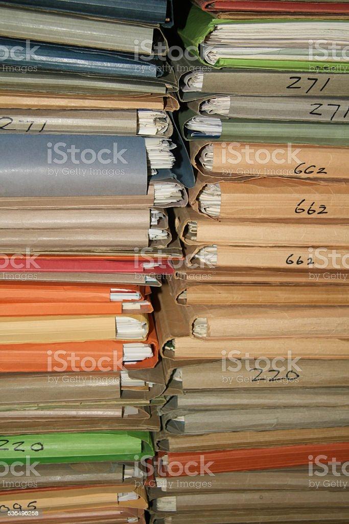 Officework, cardboard files stock photo