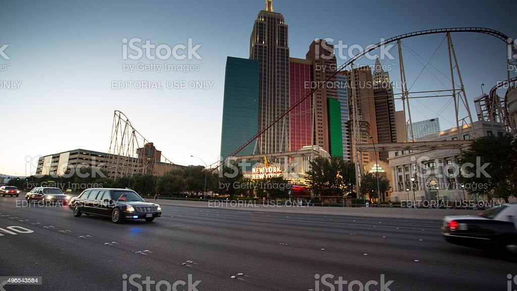 Official car of President Obama in Las Vegas stock photo