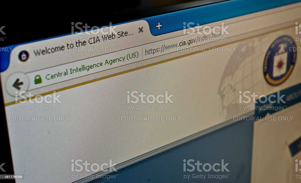 Official Central Intelligence Agency website. stock photo