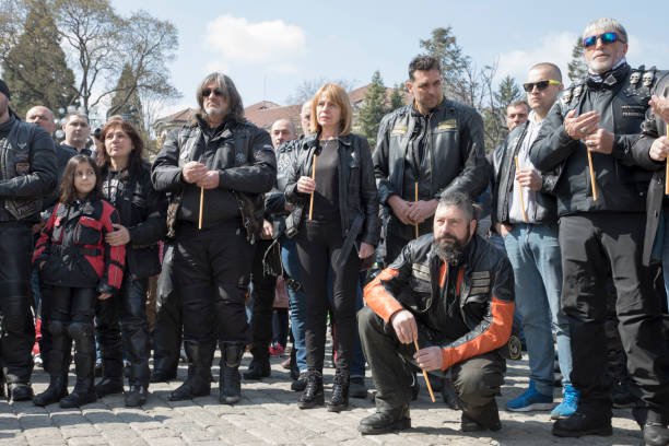 Official opening of the summer motorcycle season in Sofia, Bulgaria. stock photo