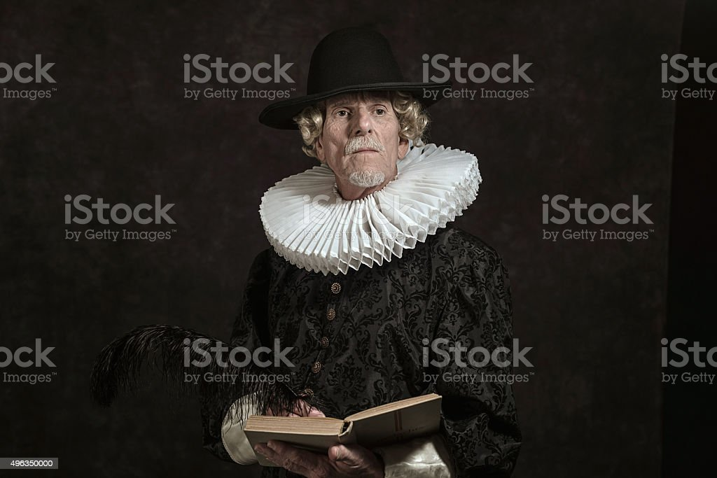 Official portrait of historical governor from the golden age. stock photo