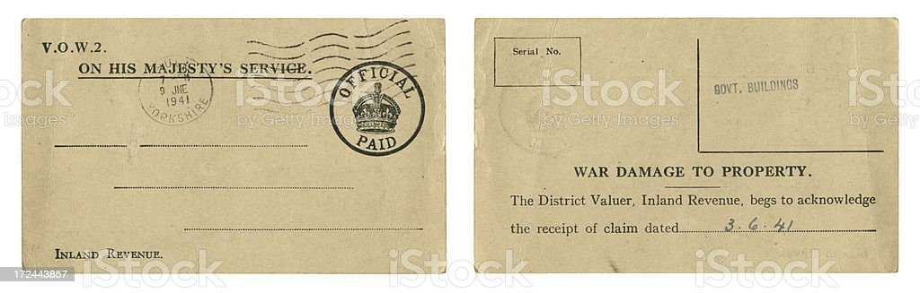 Official postcard acknowledging war damage to property 1941 royalty-free stock photo