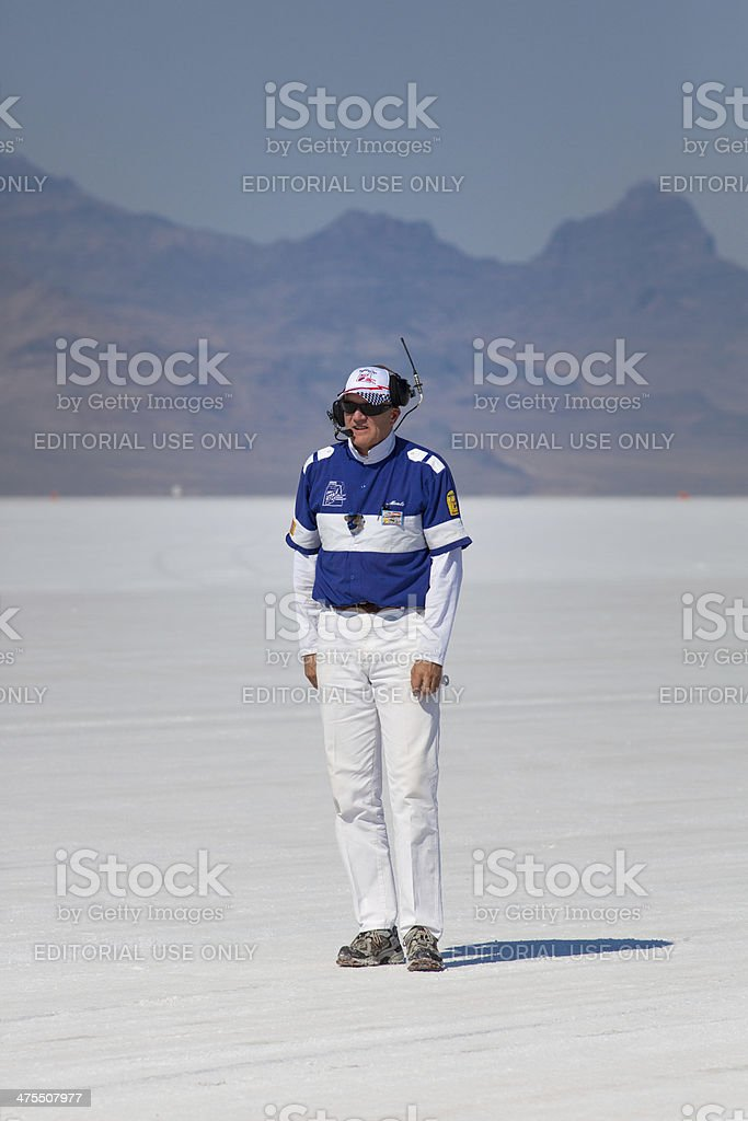 Official Referee working at the World of Speed 2012 royalty-free stock photo