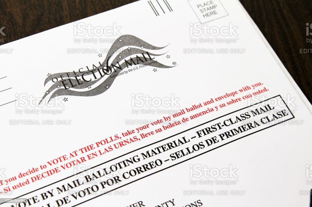 Official Vote by Mail ballot envelope stock photo